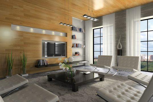 Modernes Wohnzimmer im Penthouse mit Holzpaneelen & Designermöbeln – moderne Ledersessel & flacher Couchtisch schaffen Wohnfeeling