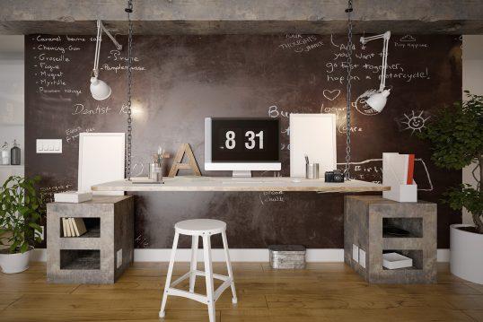 Großzügiger Arbeitsbereich mit hängendem Schreibtisch Wohnidee – moderner Eintichtungsstil / Industriedesign – Wandpaneel aus rostendem Metall & helle Arbeitsleuchten