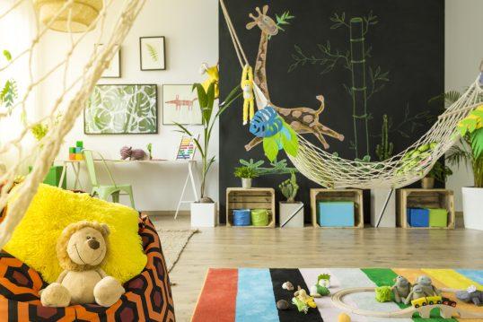Dschungelfeeling im Kinderzimmer Idee – außergewöhnliches Kinderzimmer mit vi...