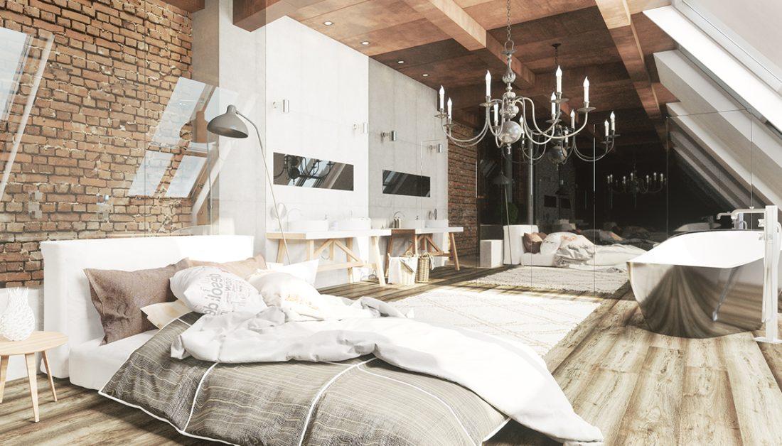 Villa Idee Dachgeschoss Mit Schlafzimmer Bad In Einem
