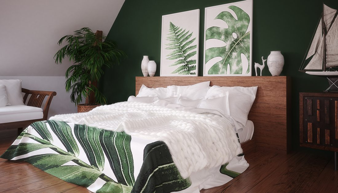 Schlafzimmer Idee Dachgeschoss Schlafzimmer Mit Gruner Wand