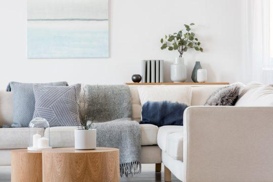 Schlichte skandinavische Wohnzimmer Deko Idee – Beispiel mit runden Beistelltischen mit Glasglocke & Zimmerpflanze – Sofa mit Decken & Kissen – Ablagetisch mit Tischvasen