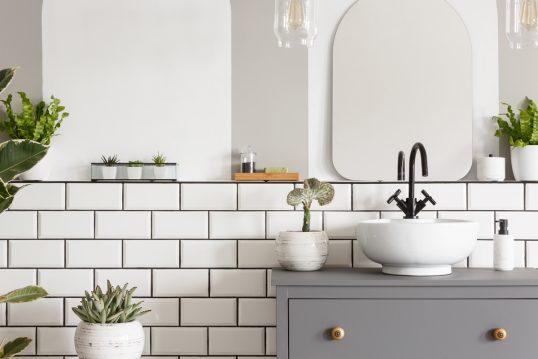 Badezimmer Gestaltungsidee im modernen Skandinavischen Stil mit Dekoration – Beispiel mit Pflanzgefäßen & Zimmerpflanzen – Waschbeckenunterschrank in grau