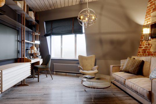 Einrichtungsidee für Arbeitszimmer im Dach mit gemütlichen Möbeln – Beispiel ...