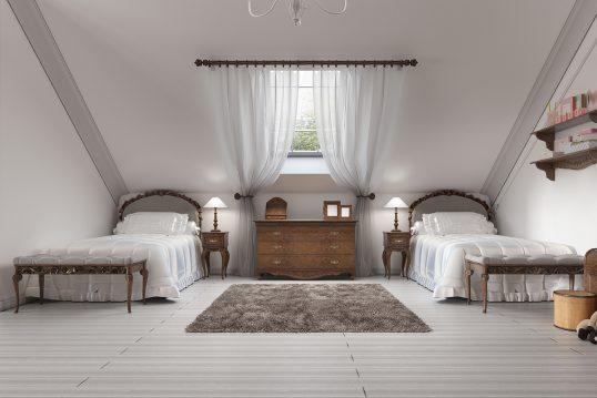 Einfaches Gästezimmer im Gründerzeitstil als Wohnidee im Dachgeschoss – Beisp...