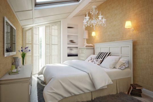 Einrichtungsidee für ein Gästezimmer im Dachgeschoss – Beispiel im Landhausst...