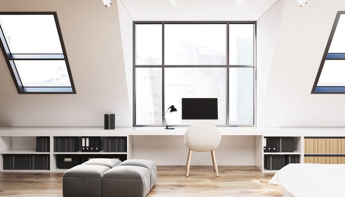 Arbeitszimmer Idee Minimalistisches Dachzimmer Buro
