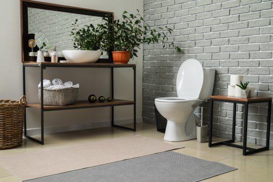 Modernes Badezimmer industriell eingerichtet als Wohnidee – Beispiel mit deko...
