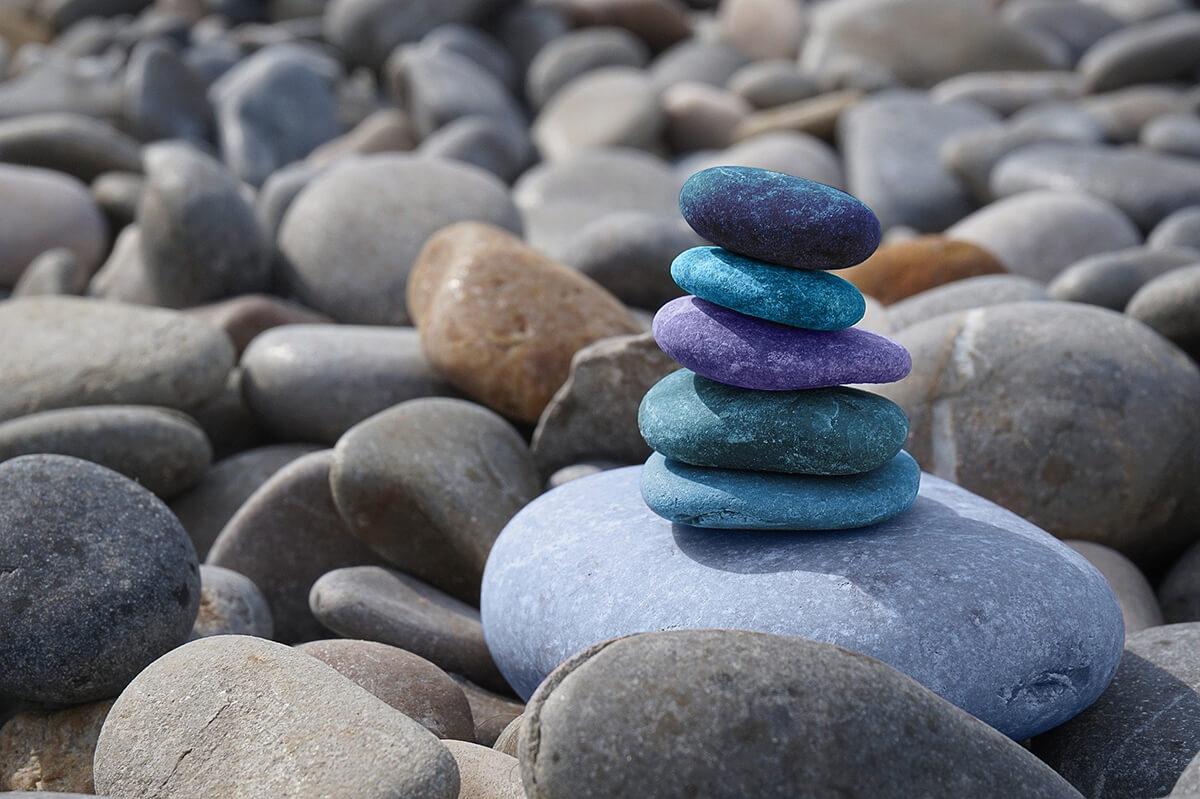 Abgerundete Steine sind typisch für Feng Shui