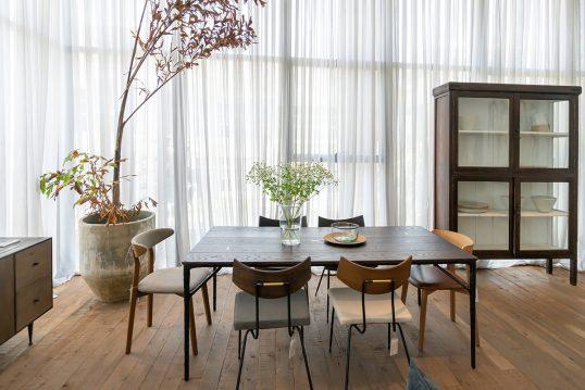 Einrichtungsidee für ein Esszimmer im Haus - Beispiel mit dekorierten Holztisch & Stühlen - Vitrine & Lowboard - große Pflanze im Pflanzgefäß