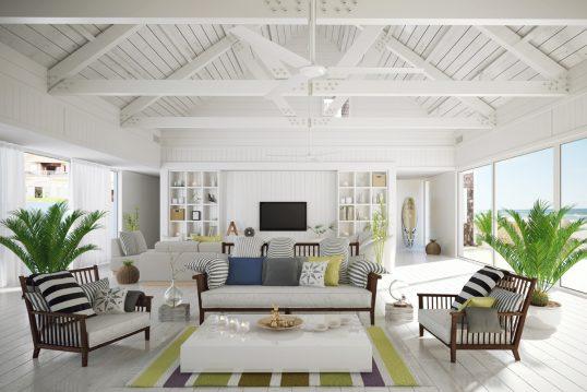 Gestaltungsidee für ein Ferienhaus oder eine Ferienwohnung mit schrägen Holzdach in weiß – Loungebereich...