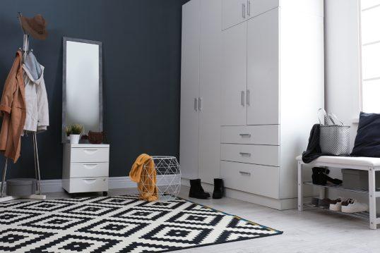 Geräumiger Hausflur mit dunkelblauer Wandfarbe – Beispiel mit großen Schrank ...
