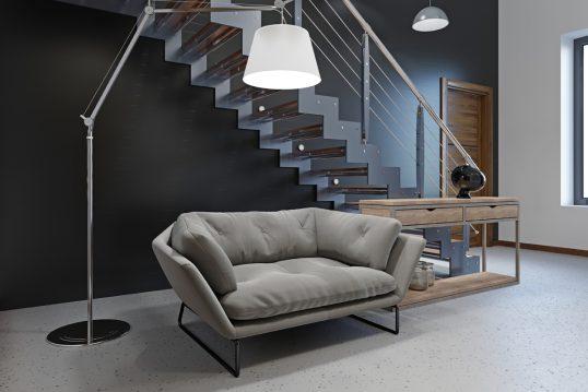 Idee für einen großen modernen Flur in blau im Loft oder Penthouse – Beispiel...