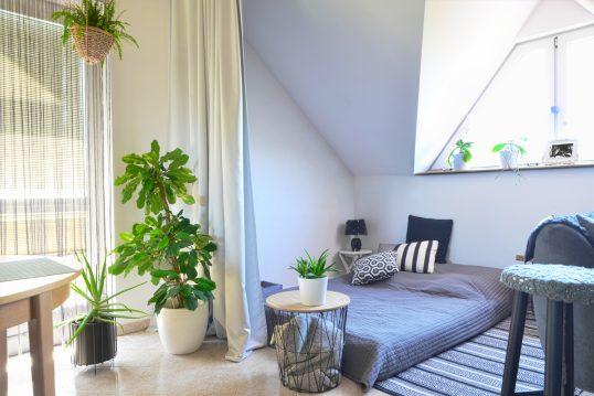 Jugendzimmer Idee – Beispiel für ein Dachboden Teenagerzimmer mit Matratze auf dem Fußboden – Korb Beistelltisch aus Metall – Pflanzen in Pflanzgefäßen überall im Dachzimmer