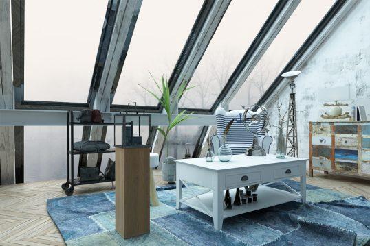 Moderne Büroeinrichtung im Vintage Stil im Dachgeschoss – Arbeitszimmer Idee ...