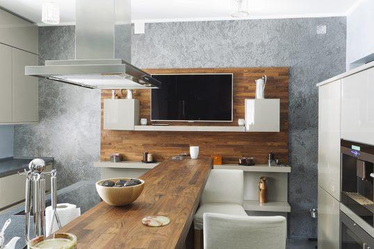 Moderne Küchen Idee mit Dekoration – Beispiel für den Tresentisch mit angrenzenden Regal – Dekovas...