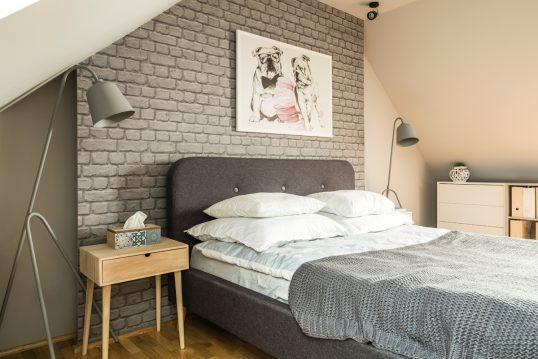 Einrichtungsidee für ein Gästezimmer im Dach – Beispiel im modernen Stil mit ...