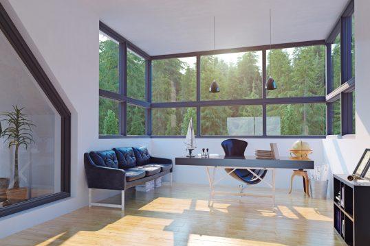 Modernes Luxus Arbeitszimmer Idee im Dachgeschoss - Beispiel mit großen Schreibtisch & Chefsessel - schwarzes Ledersofa & Regal - Hängelampen