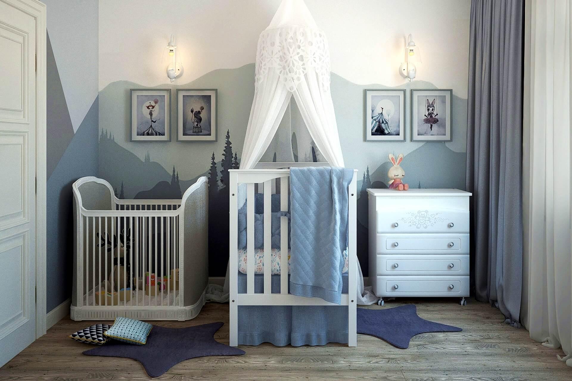 Babyzimmer in Grautönen mit aufgemalter Berglandschaft